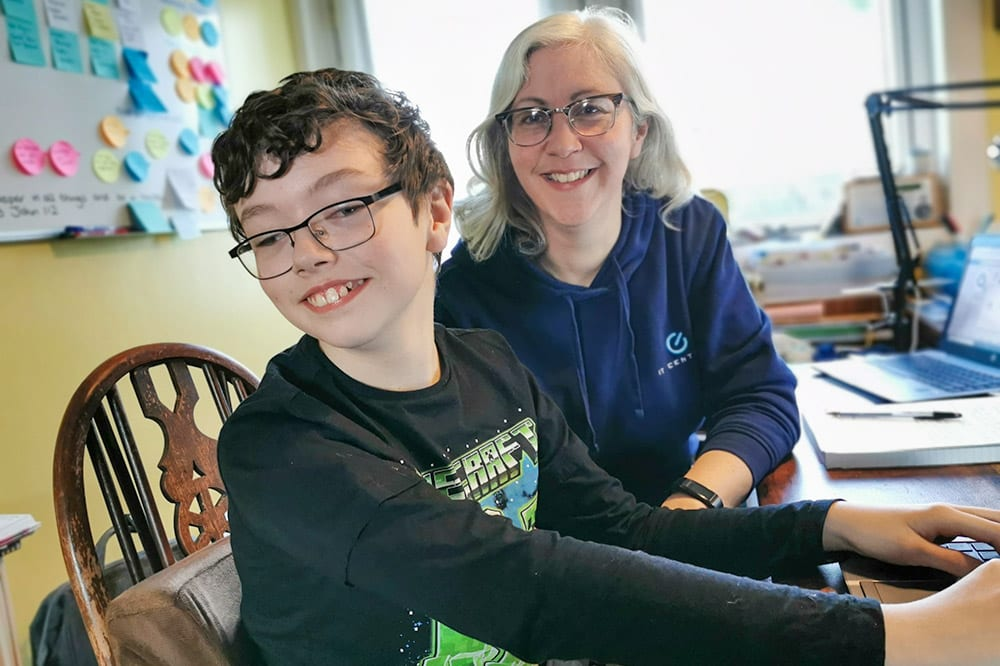 Lee Midlane from IT Central, pictured with her son, has launched an online tech club.
